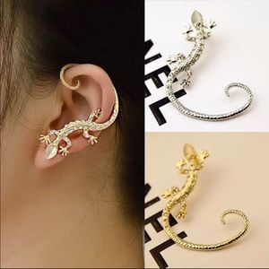 Jewelry - 1pc silver gold drop stud lizard earrings